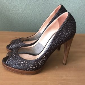 SALE Casadei Italian Brown Heels, Peep Toe